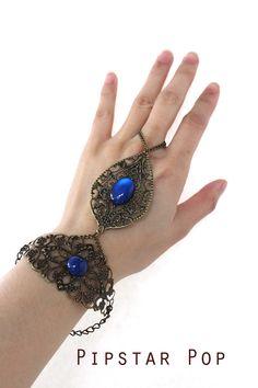 Sapphire blue Glass Gem Ether filigree bracer armor by PipStarPop