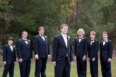 Groomsmen- Black tux red bow tie