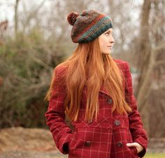 Seed Stitch Knit Beret ~ UPDATED DEC. 30, 2016 ~ easy level ~ FREE - KNIT ~ don't you just love the colour combo
