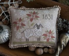 Stitch Count: 81w x 67h Threads used: The Gentle Art in Woodrose, Old Red Paint (more of a brown dye lot, rather than pink, if possible), Toasted Barley, Shaker White, Linen, Endive, Wood Trail, Wheat