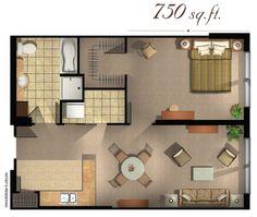 Our 1 bed 1 bath spacious floor plan. 650 square feet ...