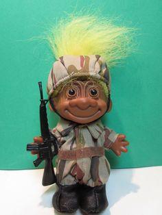 "BLACK AMERICAN / US SOLDIER / GI  - 5"" Russ Troll Doll - NEW IN ORIGINAL BAG"