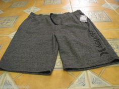 Men's Hurley active sweat shorts XL black heather NEW NWT side logo draw string