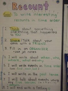 Great Anchor chart for recount writing
