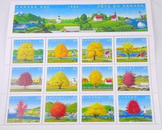 12 Maple Tree Stamps from and for Canada by ElizabethLovesGlass, $10.00