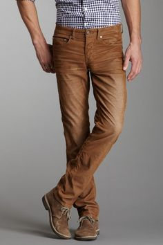 Light brown pants with checkered shirt