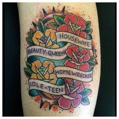 I wanted a traditional tattoo with these lyrics by Marina and the Diamonds because I felt like they represented her whole Electra Heart concept and I the lyrics always stuck with me, and the artist came up the the rest.   This amazing piece was done by Brendan Heneghan at The Constable in Plainfield, IL