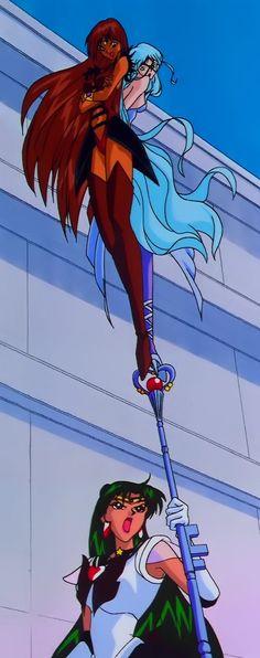 Sailor Lead Crow and Sailor Aluminum Siren on top of a ticked off Sailor Pluto's Garnet Rod.