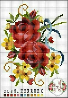This Pin was discovered by Hed Xmas Cross Stitch, Cross Stitch Rose, Cross Stitch Flowers, Cross Stitching, Cross Stitch Embroidery, Embroidery Patterns, Hand Embroidery, Cross Stitch Designs, Cross Stitch Patterns