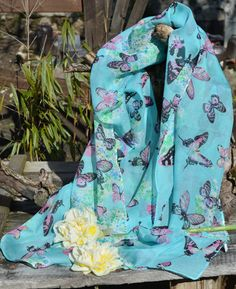 #Chiffon #Scarves - This beautiful pink butterflies chiffon scarf is so pretty. It reminds us of Summer sunshine... Check out our April 2016 Offer - Buy one chiffon scarf & get a second for free. Hurry while stocks last.