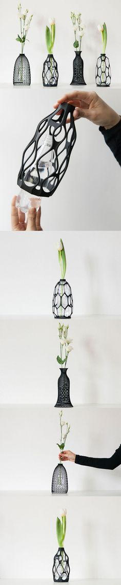 s Curated Boutique: spider vase and lace vase (the 2 on right in top picture). Clever designs that upcycle a simple PET bottle into a vase. Buy the digital design (or have it printed). Maybe something for Printer Chat? Clever Design, 3d Design, Cool Designs, Print Design, Lace Vase, 3d Templates, 3d Cnc, Modelos 3d, Pet Bottle