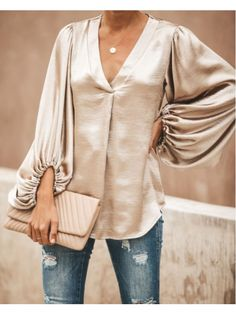 Fashion V Neck Bishop Sleeve Top Blouse – Ratecute Blouse Online, Looks Cool, Blouse Styles, Ghana, Shirt Sleeves, Underwear, Georgia, Street Style, My Style