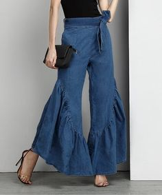 Loving this Indigo Chambray High-Waist Ruffle Palazzo Pants on #zulily! #zulilyfinds