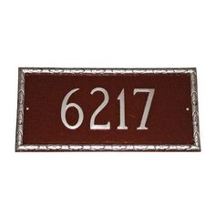 Montague Metal Products Jefferson Rectangle Address Plaque Finish: Taupe / White, Mounting: Lawn