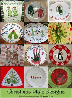Handprint Plate Christmas, Footprint Plate Keepsake, Thumbprint Christmas Art