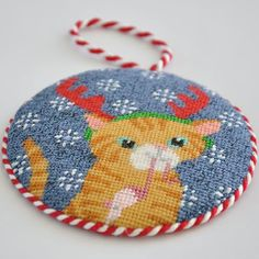 We found the purrfect needlepoint canvas for you!   Featured:  Kirk & Bradley canvas KB170