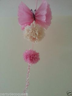 party hanging ceiling decorations tissue paper pom poms rainbow birthday | eBay