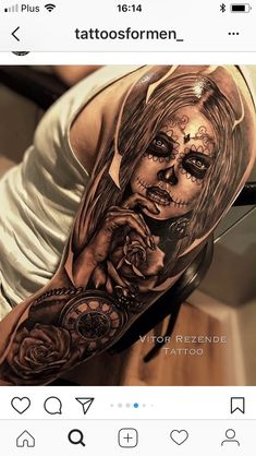 Pin by Angelo Teichmöller on Mein Traum tattoo Skull Candy Tattoo, Skull Rose Tattoos, Skull Girl Tattoo, Pirate Skull Tattoos, Candy Skulls, Full Sleeve Tattoos, Sleeve Tattoos For Women, Tattoo Sleeve Designs, Tattoo Designs For Women