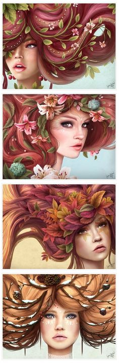 "PERSEPHONE 4 Seasons ""Spring-Summer-Fall-Winter"" by Sara Isabel Hoyos. - Gives me the feeling of extreme care in nature. Illustrations, Illustration Art, Character Inspiration, Character Design, Love Art, Female Art, Art Inspo, Painting & Drawing, Amazing Art"