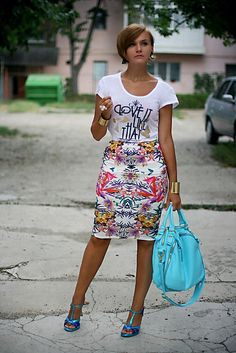 Discover this look wearing White Printed Primark Skirts, Light Blue OASAP Bags - Life's a beach by Chaba styled for Chic, Everyday in the Summer Blue Bags, Get Dressed, Midi Skirt, Style Inspiration, Clothes For Women, Chic, My Style, Casual, Vestidos