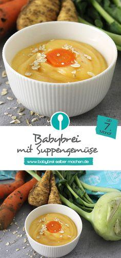 Winterlicher Babybrei mit Suppengemüse: Der vegetarische Babybrei ist ab dem 7.Monat geeignet.