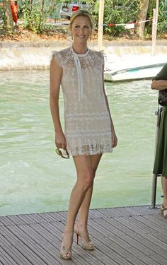 Charlize Theron in Collette Dinnigan White dress