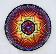 "Lazy Susan Hand Painted Dot Mandala,  15"" Diameter, Rainbow by LisaFrick on Etsy"