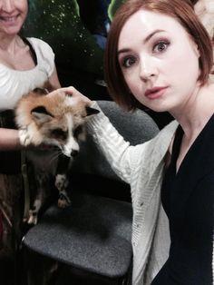cute Karen Gillan with cute fox
