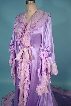 b87e3247db2 1900 Breathtaking Lavender Silk Charmeuse and Chiffon Trained Dressing Gown  with Angelic Sleeves. Cute LingerieVintage ...