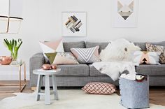 Black, white and pastel inspiration from Norsu (my scandinavian home) Nordic living room inspiration. Pastel Living Room, My Living Room, Home And Living, Living Area, Decoration Inspiration, Interior Inspiration, Interior Ideas, Canapé Design, House Design
