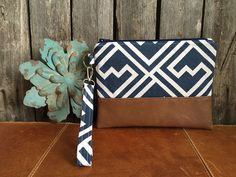 Blue & White Wristlets Wristlet Wallet IPhone by RavensMoonDesigns