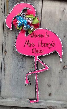 Pink flamingo door sign zebra print by Angelascreativecraft Teacher Door Signs, Teacher Door Hangers, Teacher Doors, Flamingo Craft, Flamingo Decor, Pink Flamingos, Classroom Door, Classroom Themes, Autism Classroom