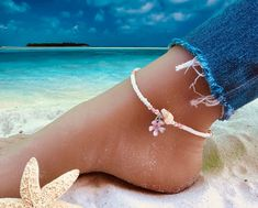 Style Boho, Beach Anklets, Turquoise Color, Beach Jewelry, Ankle Bracelets, Natural Stones, Shells, Jewels, Gemstones