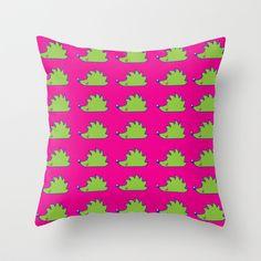 Green hedgehog Throw Pillow by mangulica - $20.00