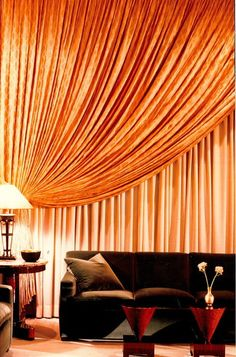 Urban Fabric Interior Design With Yellow Curtain Living Room Ideas interior design fabric trends 2014 Home decoration, Interior Design Decor, Interior Design, Window Styles, New Living Room, Home, Interior, Orange Window Treatments, Living Room New York, Interior Design Fabric