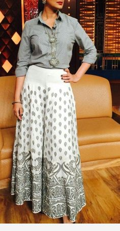 Palazzo pants outfit - Get the ultimate guide on how to create your own designer saree blouses, with all the tops you have in your closet Get the latest on saree drapes and new styles bollywoodfashion bollywoodstyle pu Indian Fashion Dresses, Dress Indian Style, Indian Designer Outfits, Girls Fashion Clothes, Indian Outfits, Skirt Fashion, Fashion Outfits, Clothes For Women, Stylish Dresses For Girls