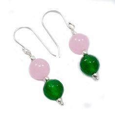 Silvestoo India Rose Chalcedony & Green Quartz Gemstone 925 Sterling Silver Earring PG-101592   https://www.amazon.com/dp/B06Y238RRH