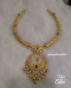 Beautiful kanti necklace with nakshi work. Necklace having chaandbali hangings. Necklace studded with multi color precious stones. 11 April 2018