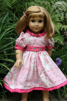 "Summer dress for a 18"" doll (Nellie an american girl pictured) from Stitching with Elli"