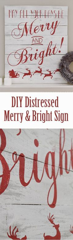 Merry and Bright Christmas Sign Beautiful Distressed Wood Sign for a Christmas Mantle Decoration. Painted with grey and chalkboard white. Love the red lettering over the faux pallet sign. The Merry and Bright gives such a nice Christmas feel to the sign. Pallet Christmas, Noel Christmas, Christmas Signs, Christmas Projects, All Things Christmas, Holiday Crafts, Christmas Decorations, Xmas, Christmas Ideas