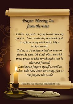 Prayer- moving on from the past