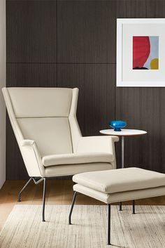 Aidan Chair U0026 Ottoman In Urbino Leather   Modern Accent U0026 Lounge Chairs    Modern Living Room Furniture   Room U0026 Board