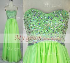 2014 Prom Dress Strapless A Line Beads Crystal Chiffon by MyGown, $149.90