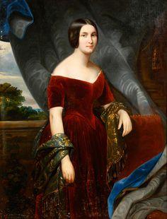 XIXE SIECLE - Portrait de femme à la robe[...], mis en vente lors de ...