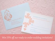 Win 15% off our ready-to-order wedding invitations! Details are here: http://kiweddings.blogspot.com/2014/02/featured-post-3-bees-paperie.html