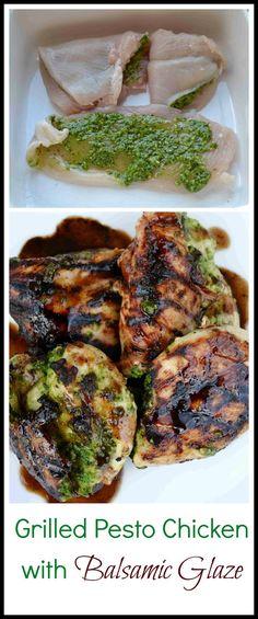 Grilled Pesto Chicken with Balsamic Glaze