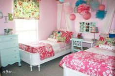 Very cute room, love the collage of frames on the wall and pom poms