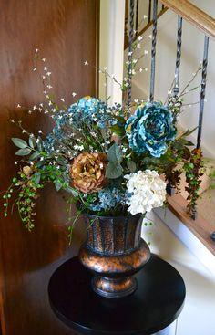 Fall Flower Arrangement, Autumn Silk Flower Arrangement, Blue Peonies, Rust Brown Peonies, Wisteria & White Hydrangeas