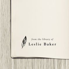 Library Stamp, Book Stamp - Style #10, Wood Mounted or Self-Inking, Gifts for Book Lovers, From the Library of, Ex Libris Feather Stamp