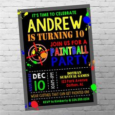 Paintball Birthday Invitation Paintball by SweetCottonPaperie Paintball Birthday Party, 10th Birthday Parties, 12th Birthday, Birthday Ideas, Boy Birthday Invitations, Party Invitations, Party Labels, Food Labels, Printable Labels